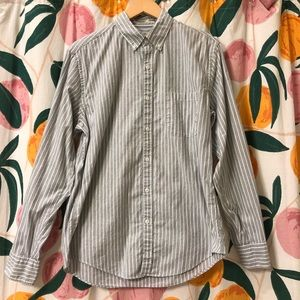 J Crew grey white stripe cotton button down medium